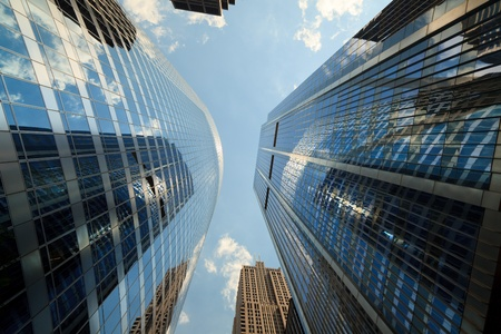 Upward view of skyscrapers in Chicago Stock Photo