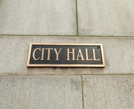 'city hall': City Hall sign