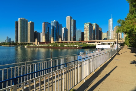 Chicago skyline along Lake Michigan photo