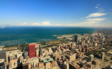 Aerial view of downtown Chicago photo
