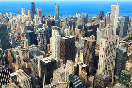 시카고 시내의 공중보기 에디토리얼