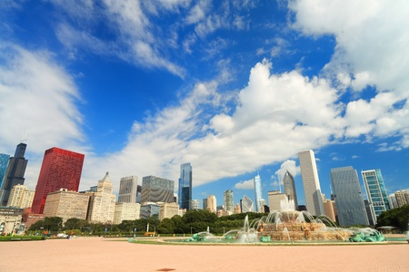 Grant Park in downtown Chicago with skyline photo