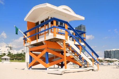 miami south beach: Colorful lifeguard station in Miami South Beach Editorial
