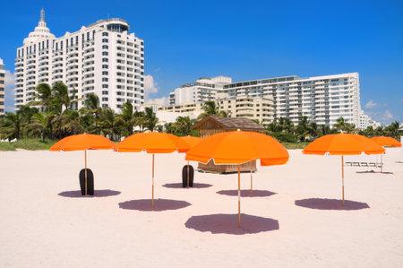 hotel building: Colorful umbrellas in Miami South Beach Editorial