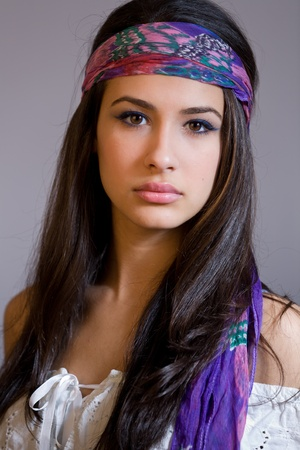 middle eastern ethnicity: Beautiful young woman with bandana