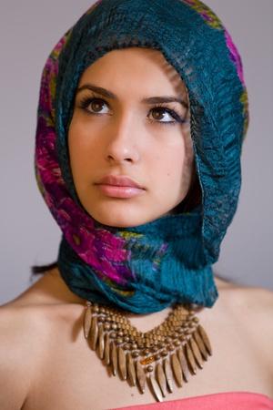 bandana girl: Beautiful young woman with shawl Stock Photo