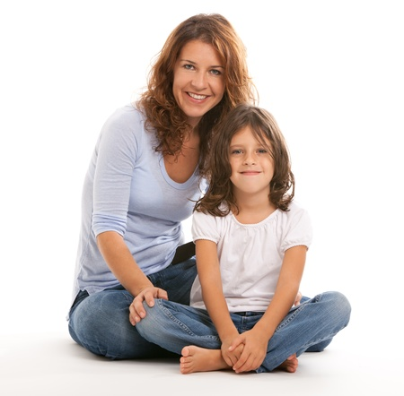 Mother and daughter on a white background 版權商用圖片