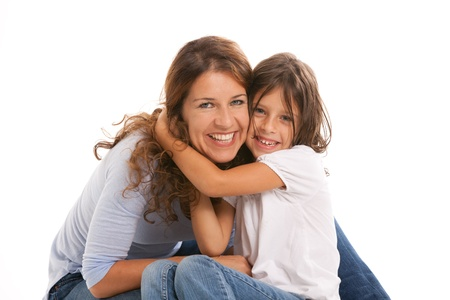 daughter mother: Mother and daughter in an affectionate pose on a white background Stock Photo