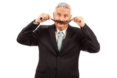 큰 가짜 콧수염과 중세 시대 비즈니스 사람 (남자)