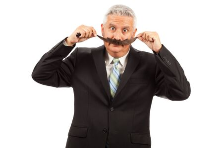 Middle Age Business Man with Large Fake Mustache