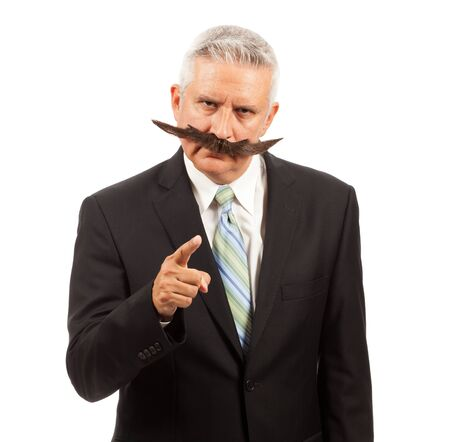 Middle Age Business Man with Large Fake Mustache photo