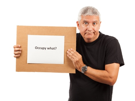 occupy wall street: Middle Age Man with Satirical Occupy Sign Stock Photo