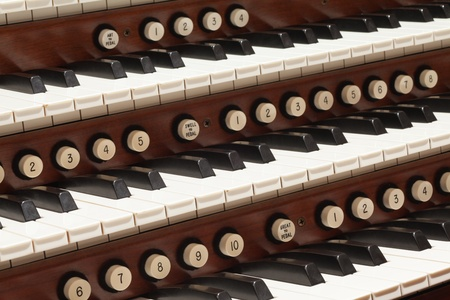 Close up view of a church pipe organ photo