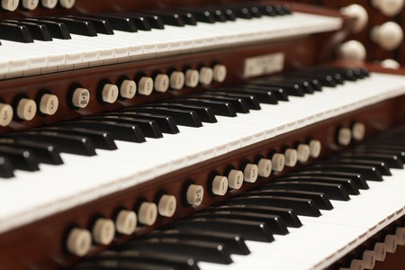 organ: Close up view of a church pipe organ Stock Photo