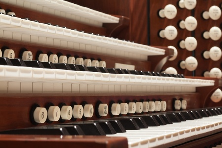Close up view of a church pipe organ Stock Photo