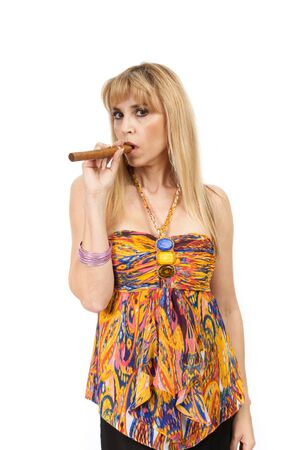 Beautiful woman holding a cigar Stock Photo - 11876495