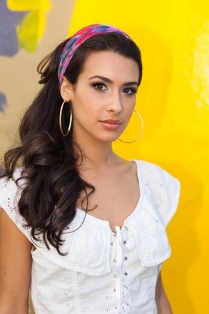 bandana girl: Beautiful young woman outdoors Stock Photo