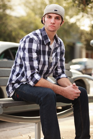 Handsome young man outdoors photo