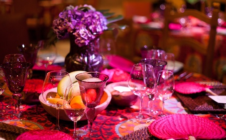 formal dinner party: Elegant colorful dinner table setting Stock Photo