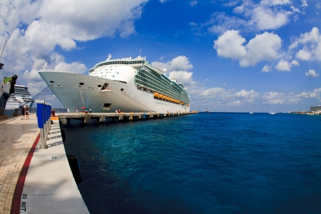 cruises: Cruise ship in the harbor in the Caribbean
