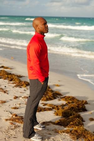man profile: Handsome young man enjoying Miami South Beach