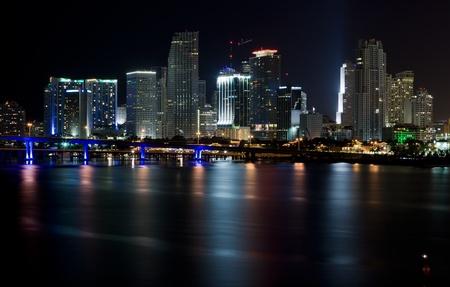 Downtown Miami Night Skyline Stock fotó