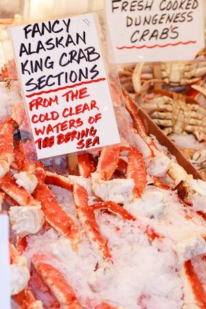 Fresh King Crab in a seafood market