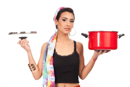 Beautiful young woman with cookware on a white background Stock Photo - 13108079