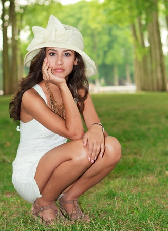 Beautiful young woman in the French Countryside photo