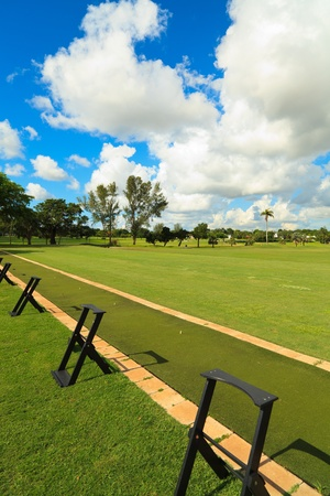 driving range: Golf course driving range  Stock Photo