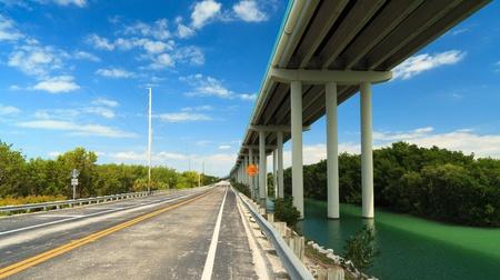 Florida Keys US1 Highway bridge with mangroves and blue sky  Stok Fotoğraf