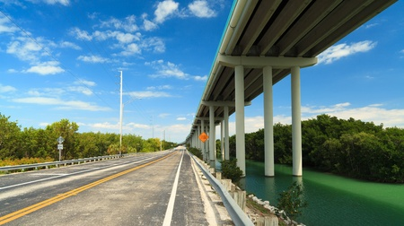Florida Keys US1 Highway bridge with mangroves and blue sky Stock Photo - 13655945