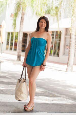 美人ショッピング モールの屋外のポートレート。 写真素材
