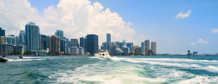 Miami skyline view from a boat on Biscayne Bay