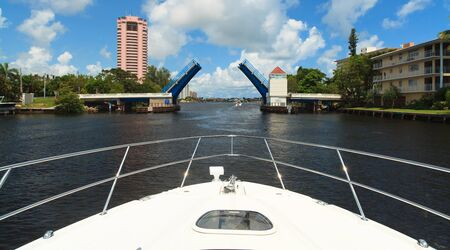 fort lauderdale: View of the Fort Lauderdale Intracoastal Waterway from a yacht with a drawbridge ahead