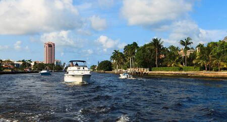 waterway: View of the Fort Lauderdale Intracoastal Waterway from a yacht Stock Photo