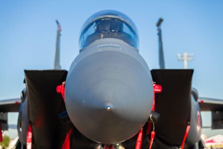 Close up view of the American F-15 Eagle fighter jet