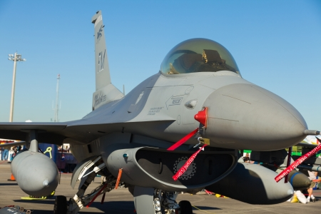 modern fighter: Close up view of the American F-16 Fighting Falcon jet  Editorial