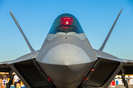 Close up view of the American F-22 Raptor stealth fighter jet  Editoriali