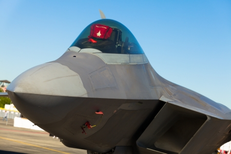 stealth: Close up view of the American F-22 Raptor stealth fighter jet  Editorial
