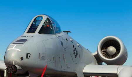 modern fighter: Close up view of the American A-10 Thunderbolt Warthog jet  Editorial