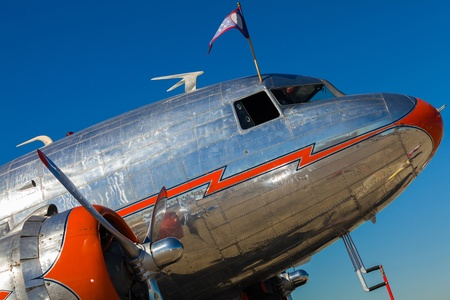 Close up view of a vintage DC-3 propeller passenger and cargo airplane. Editorial