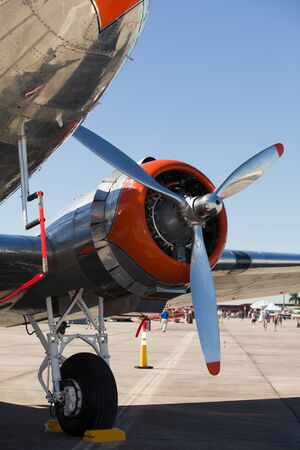 Close up view of a vintage DC-3 propeller  airplane engine.