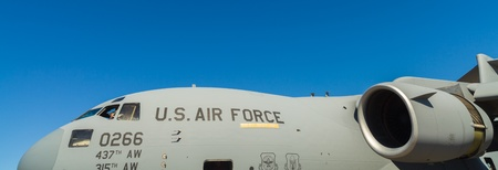 battle plane: Close up view of the American C-17 Globemaster transport jet airplane.
