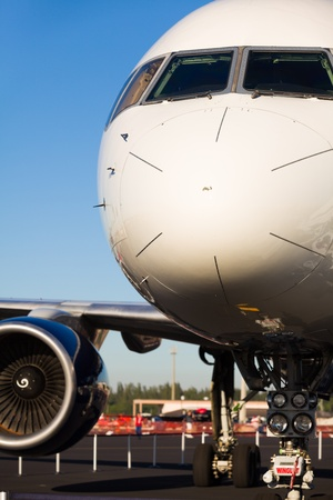 Close up view of a Boeing 757 passenger airliner.