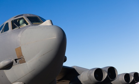 long range: Close up view of the American B-52 Stratofortress long range bomber jet airplane