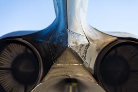 Close up view of the rear of the American B-52 Stratofortress long range bomber jet engines