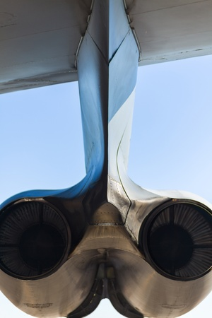 long range: Close up view of the rear of the American B-52 Stratofortress long range bomber jet engines