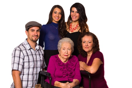 Family with their handicapped grandmother on a white background  photo