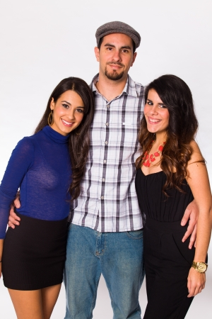 cuban women: Handsome young man and pretty young women on a white background